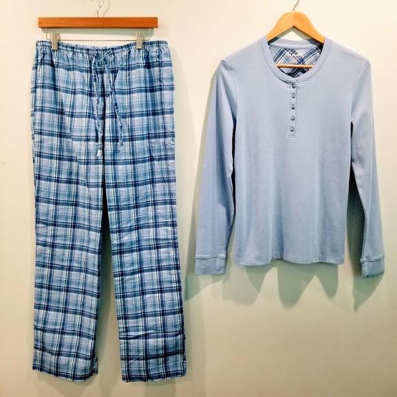 0e2643a889 L.L. Bean Other - L.L. Bean Blue Plaid Flannel Pajama Set